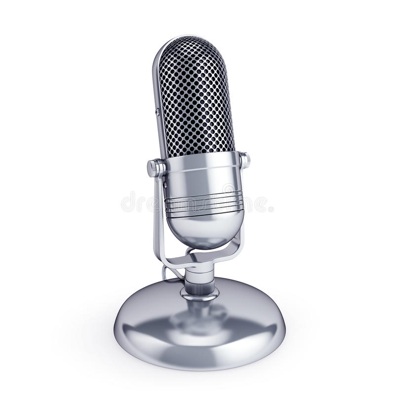 Retro uitstekende die microfoon op wit wordt geïsoleerd royalty-vrije stock fotografie