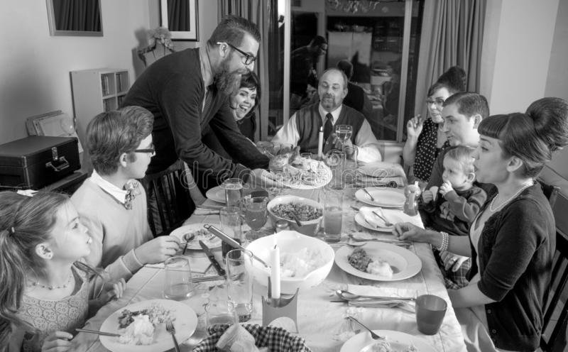Retro Uitstekende Diner Turkije van de Familiedankzegging royalty-vrije stock fotografie