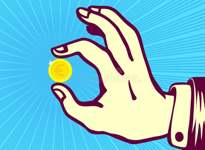 Retro uitstekende hand die euro muntstuk tussen duim en wijsvinger houden vector illustratie