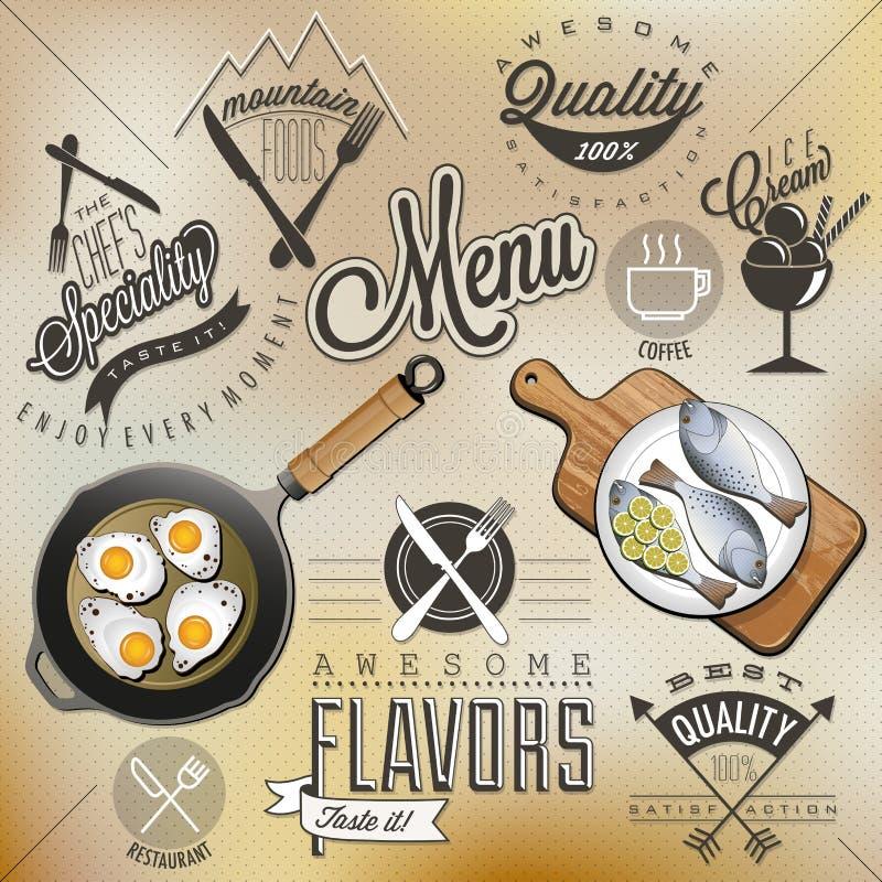 Retro uitstekende het menuontwerpen van het stijlrestaurant vector illustratie