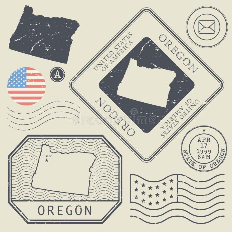 Retro uitstekende postzegels geplaatst Oregon, Verenigde Staten vector illustratie