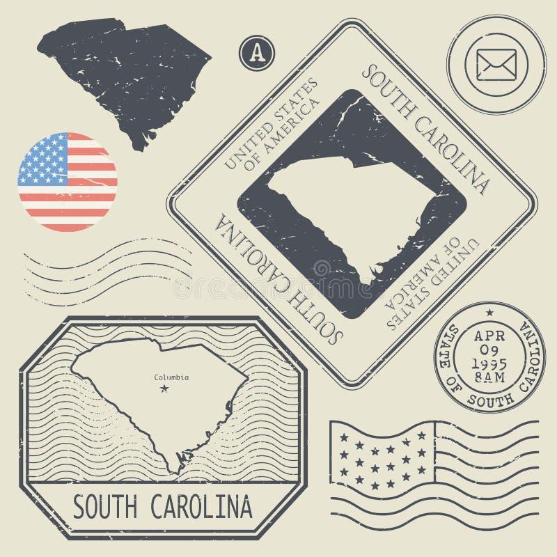 Retro uitstekende postzegels geplaatst Zuid-Carolina, Verenigde Staten royalty-vrije illustratie