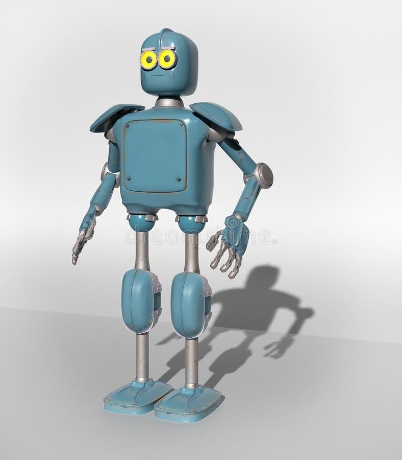 Retro uitstekende robot; op een witte achtergrond royalty-vrije illustratie