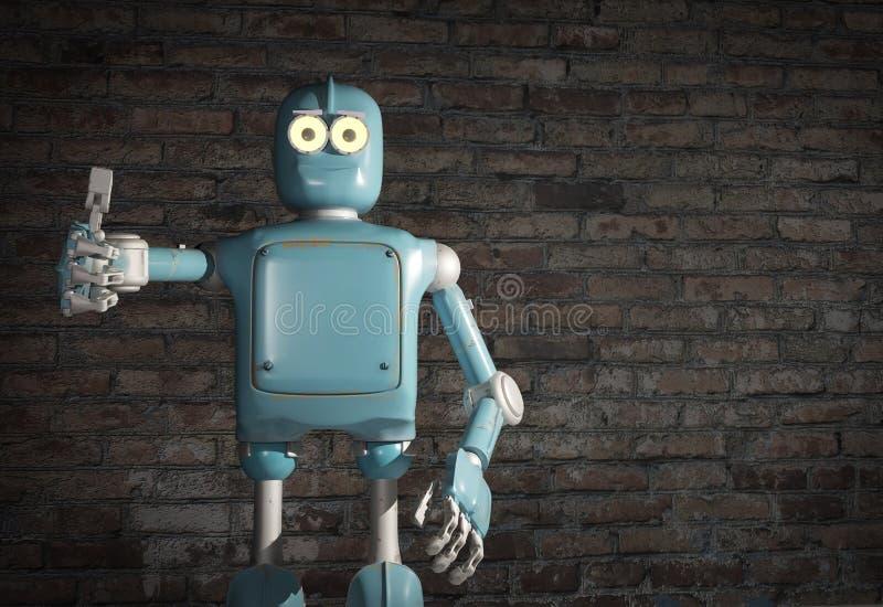 Retro uitstekende robot verschijnt tumb; op een bakstenen muurachtergrond stock illustratie