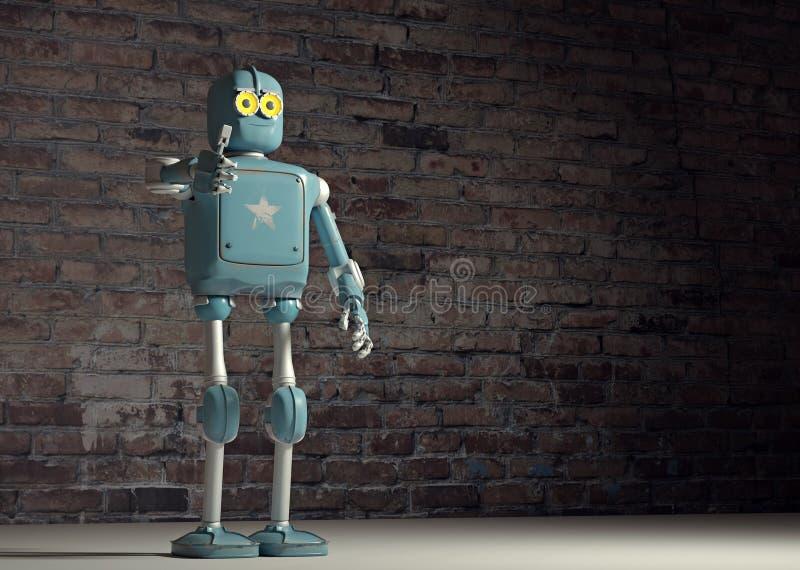 Retro uitstekende robot verschijnt tumb; op een bakstenen muurachtergrond vector illustratie