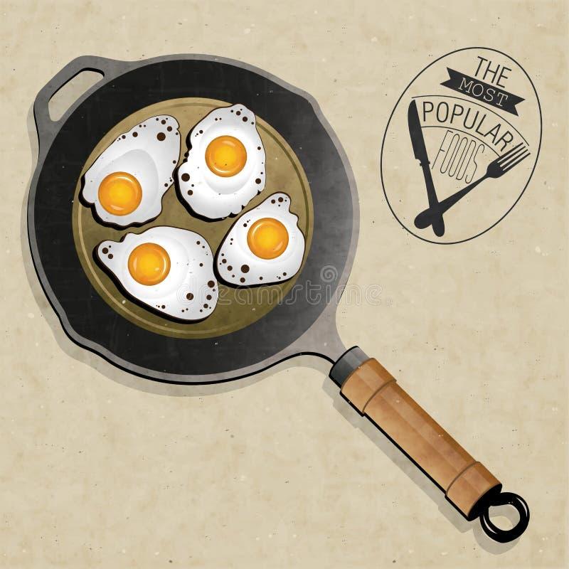 Retro uitstekende stijl Fried Frying Pan met Eieren. royalty-vrije illustratie