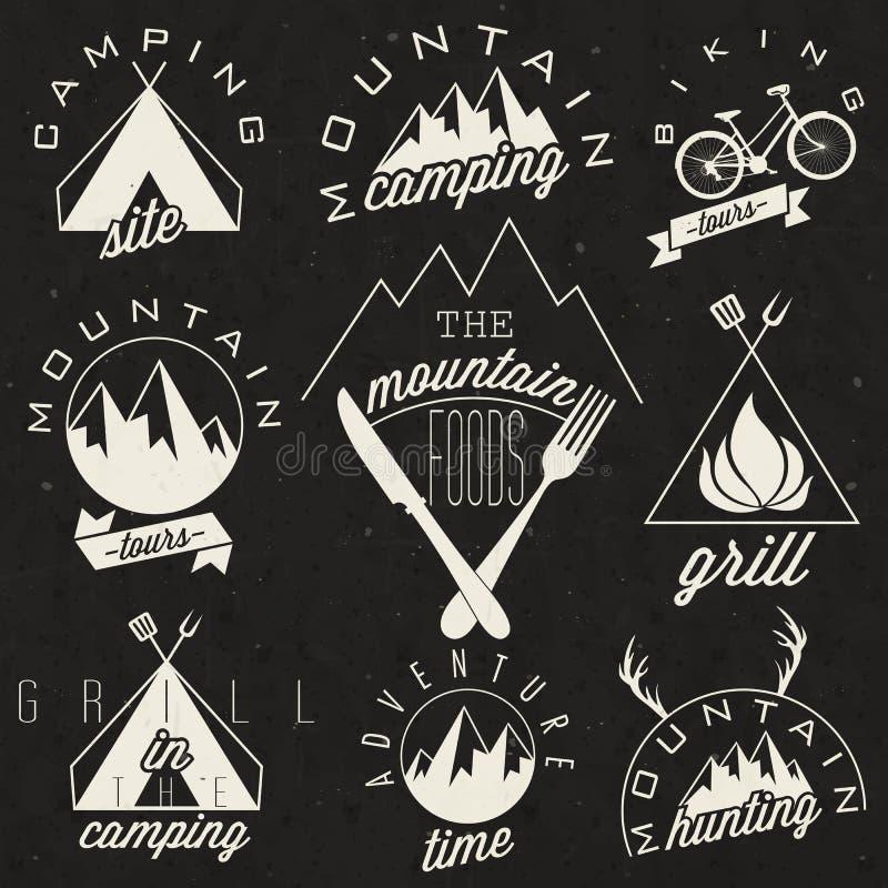 Retro uitstekende stijlsymbolen voor Berg Expeditio stock illustratie