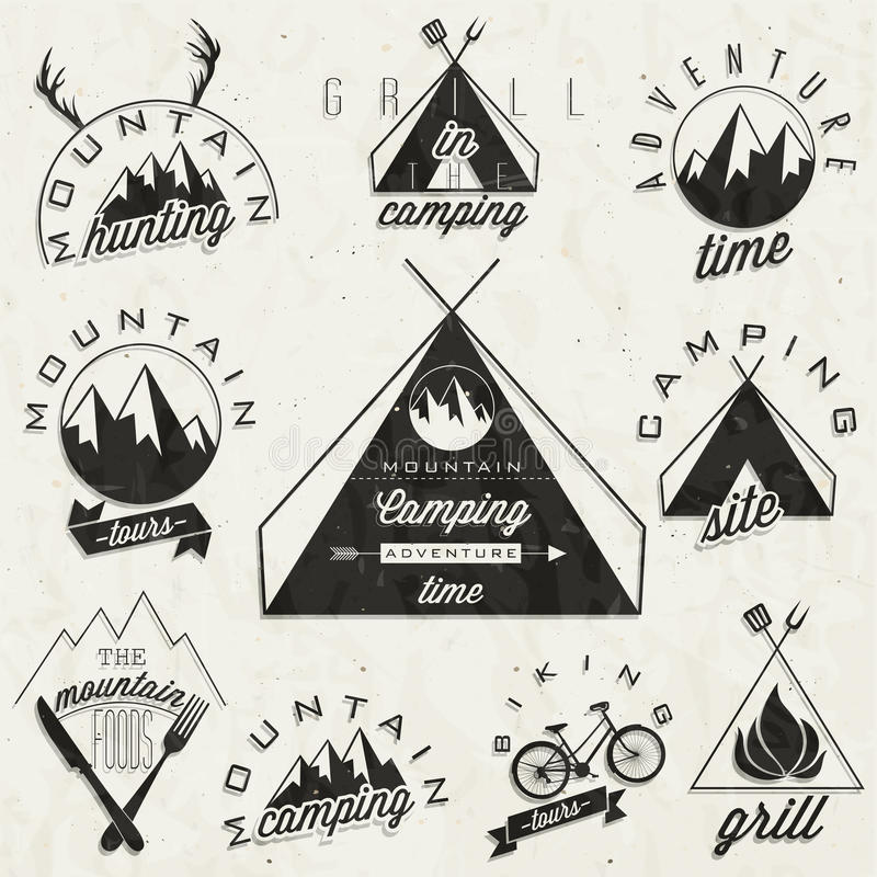Retro uitstekende stijlsymbolen voor Berg Expeditio royalty-vrije illustratie