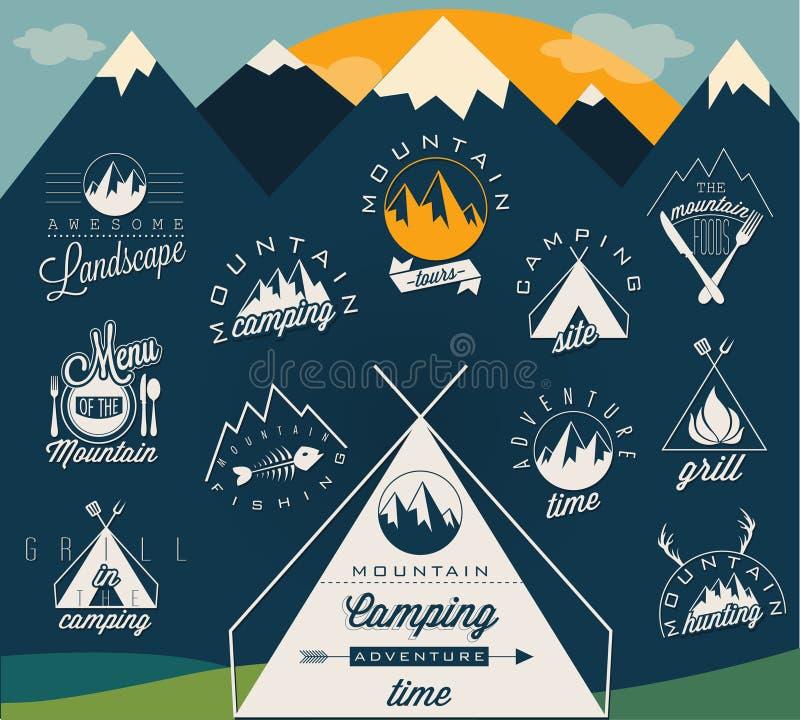 Retro uitstekende stijlsymbolen voor Bergexpeditie royalty-vrije illustratie