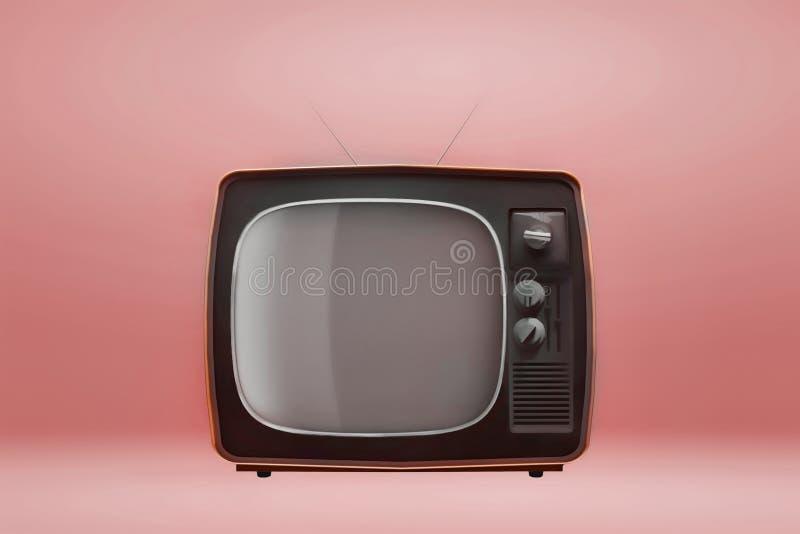 Retro uitstekende TV op oranje achtergrond 3D Illustratie vector illustratie