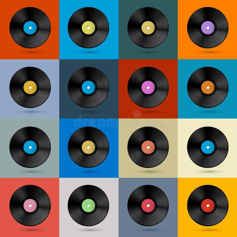 Retro, Uitstekende Vector Vinyl Geplaatste Verslagen stock illustratie