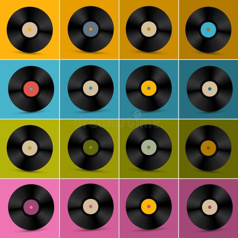 Retro, Uitstekende Vector Vinylreeks van de Verslagschijf vector illustratie