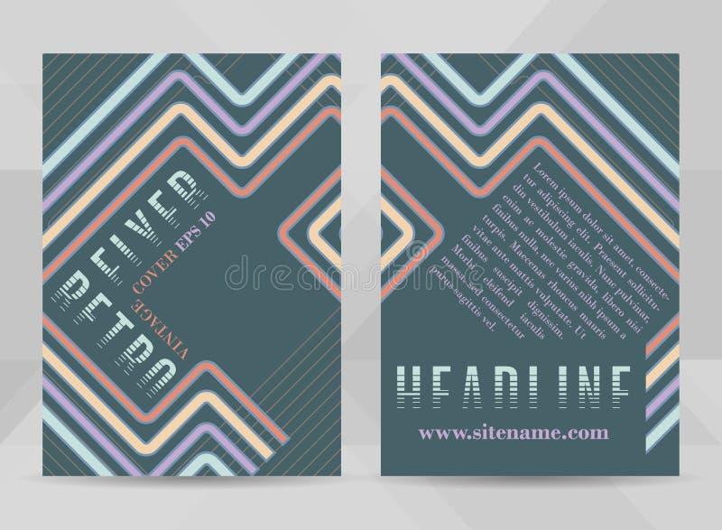 Retro ulotka szablonu A4 rozmiar Biznesowa broszurka, pokrywa projekt lub korporacyjny sztandar w rocznika stylu, royalty ilustracja