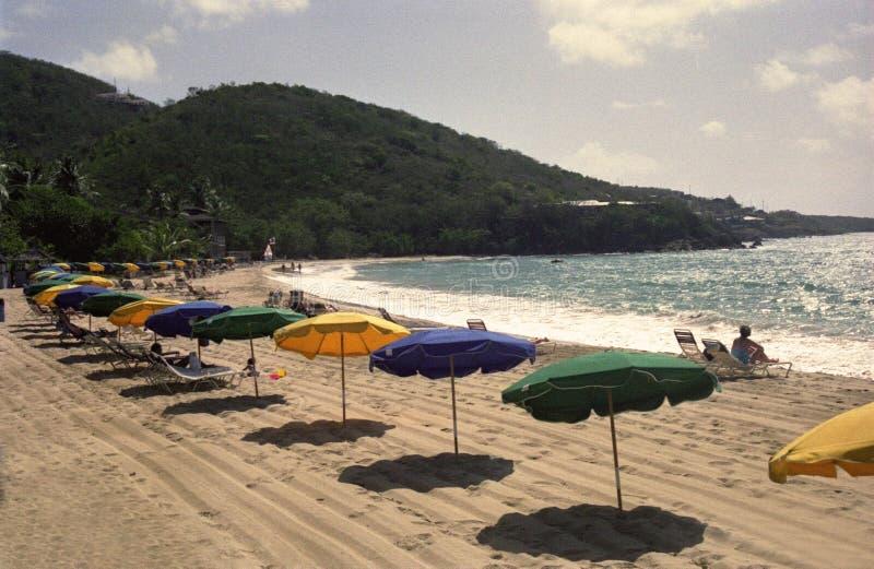 Retro Umbrellas on Tropical Beach