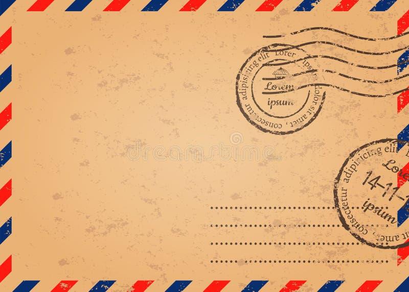 Retro- Umschlag mit Stempeln, Schablone des Postumschlags lizenzfreie abbildung
