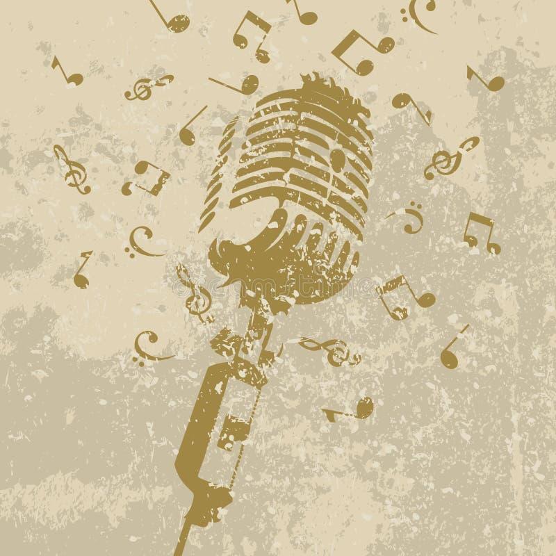 Retro un micrófono stock de ilustración
