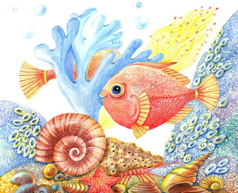 Retro undervattens- värld för vattenfärg med en fisk royaltyfri illustrationer