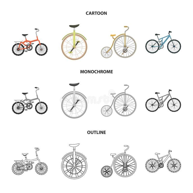Retro, unicycle en andere soorten De verschillende fietsen geplaatst inzamelingspictogrammen in beeldverhaal, schetsen, zwart-wit royalty-vrije illustratie
