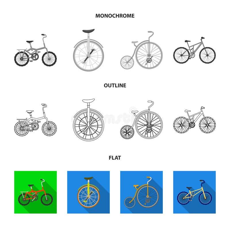 Retro, unicycle en andere soorten De verschillende fietsen geplaatst inzamelingspictogrammen in vlakte, schetsen, zwart-wit stijl royalty-vrije illustratie
