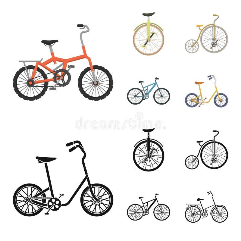 Retro, unicycle en andere soorten Verschillende fietsen geplaatst inzamelingspictogrammen in beeldverhaal, de zwarte voorraad van stock illustratie