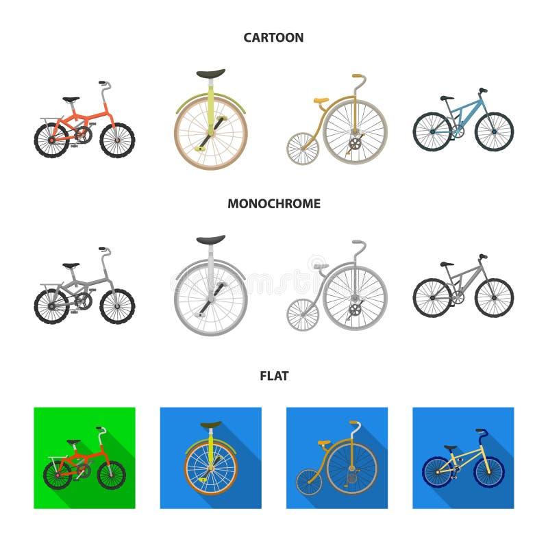 Retro, unicycle en andere soorten Verschillende fietsen geplaatst inzamelingspictogrammen in beeldverhaal, vlak, zwart-wit stijl  stock illustratie