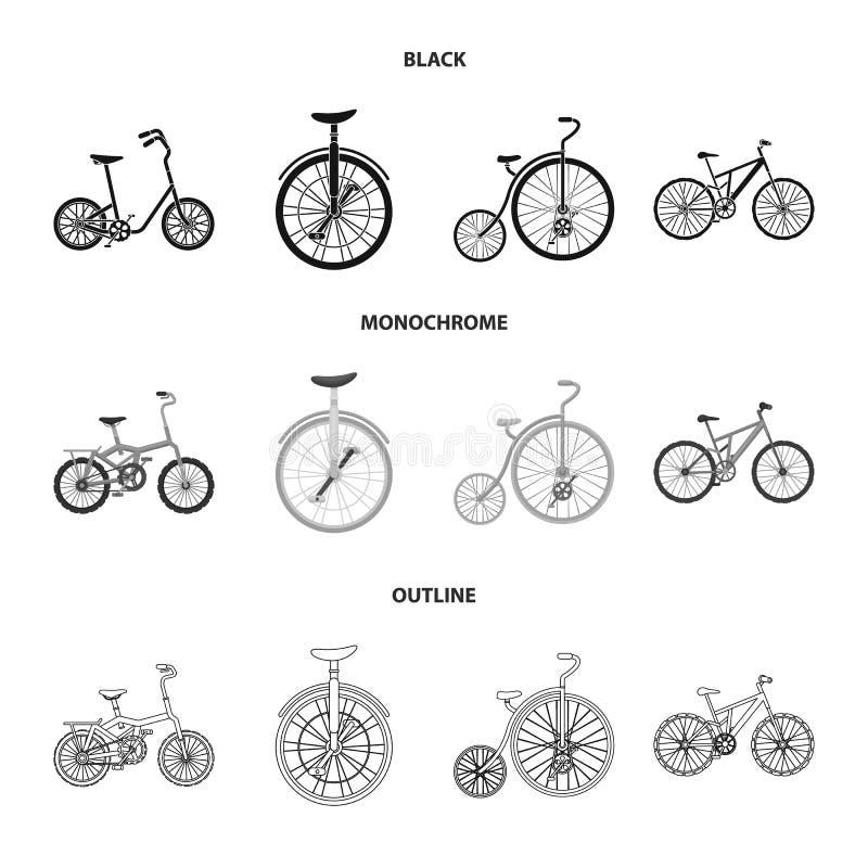 Retro, unicycle en andere soorten Verschillende fietsen geplaatst inzamelingspictogrammen in het zwarte, zwart-wit, vectorsymbool royalty-vrije illustratie