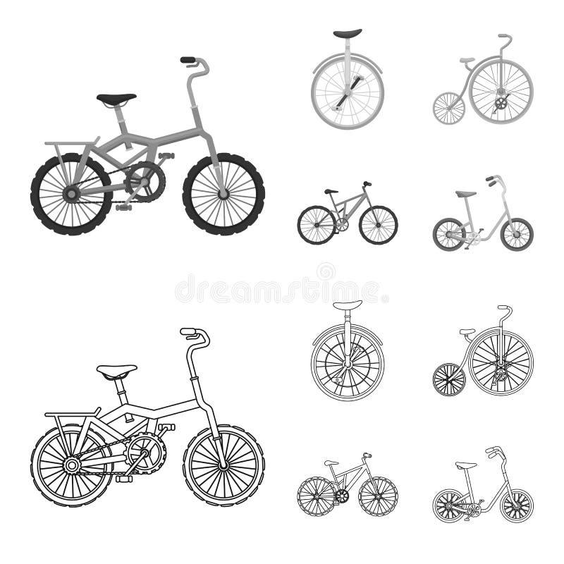 Retro, unicycle en andere soorten Verschillende fietsen geplaatst inzamelingspictogrammen in overzicht, de zwart-wit voorraad van vector illustratie