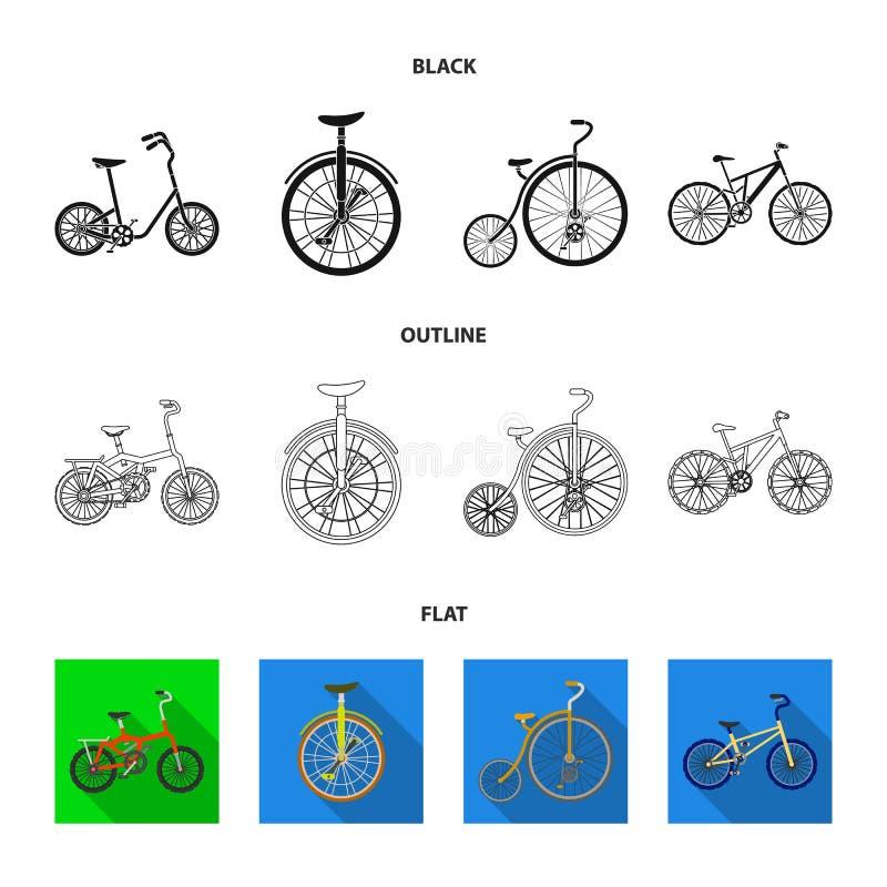 Retro, unicycle en andere soorten Verschillende fietsen geplaatst inzamelingspictogrammen in zwarte, vlak, vector het symboolvoor vector illustratie