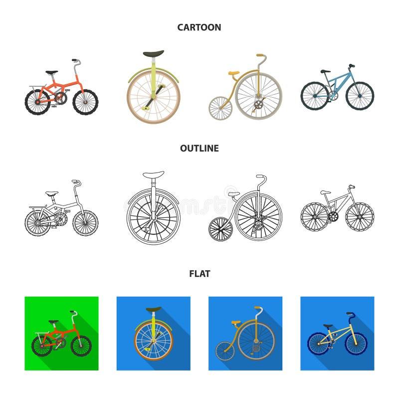 Retro, unicycle i inny rodzaju, Różni bicykle ustawiać inkasowe ikony w kreskówce, kontur, mieszkanie stylowy wektorowy symbol royalty ilustracja