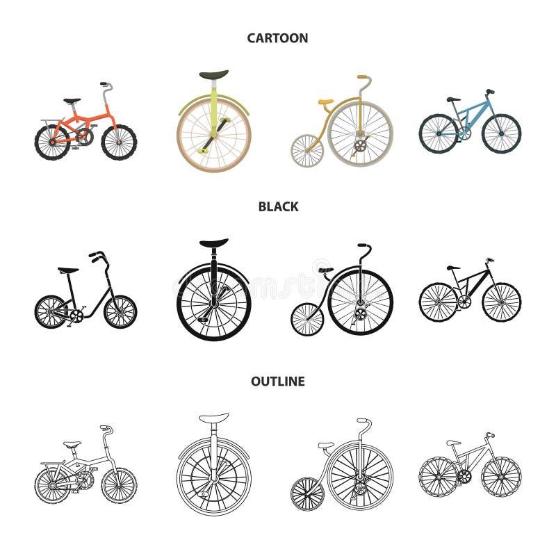 Retro-, Unicycle und andere Arten Verschiedene Fahrräder stellten Sammlungsikonen in der Karikatur, Schwarzes, Entwurfsart-Vektor lizenzfreie abbildung