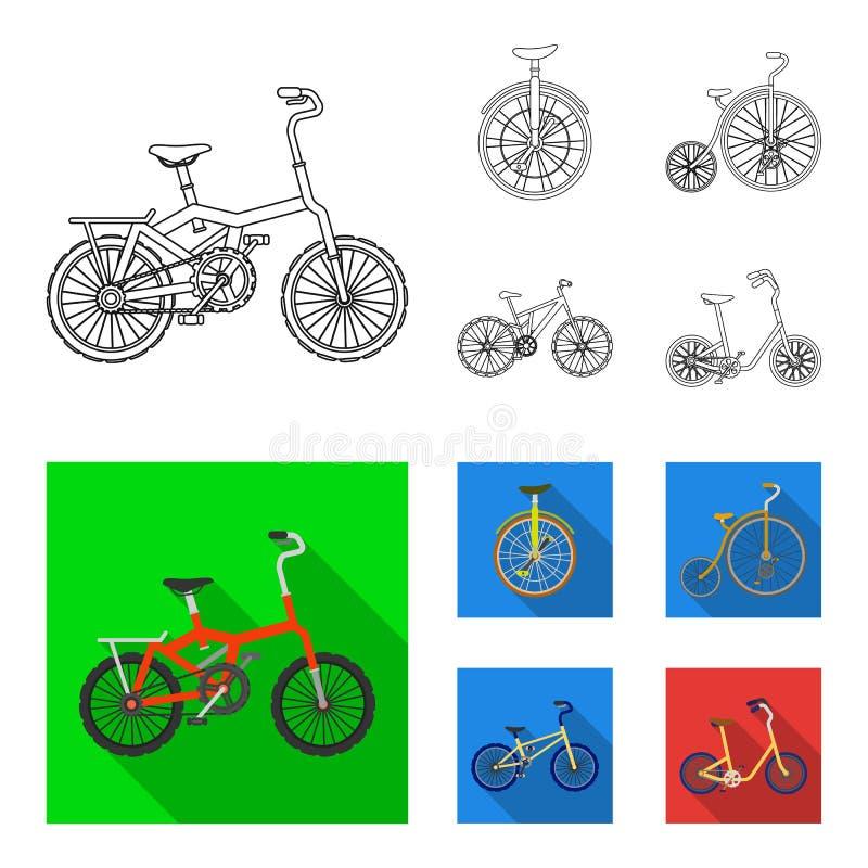 Retro-, Unicycle und andere Arten Verschiedene Fahrräder stellten Sammlungsikonen im Entwurf, flacher Artvektor-Symbolvorrat ein stock abbildung