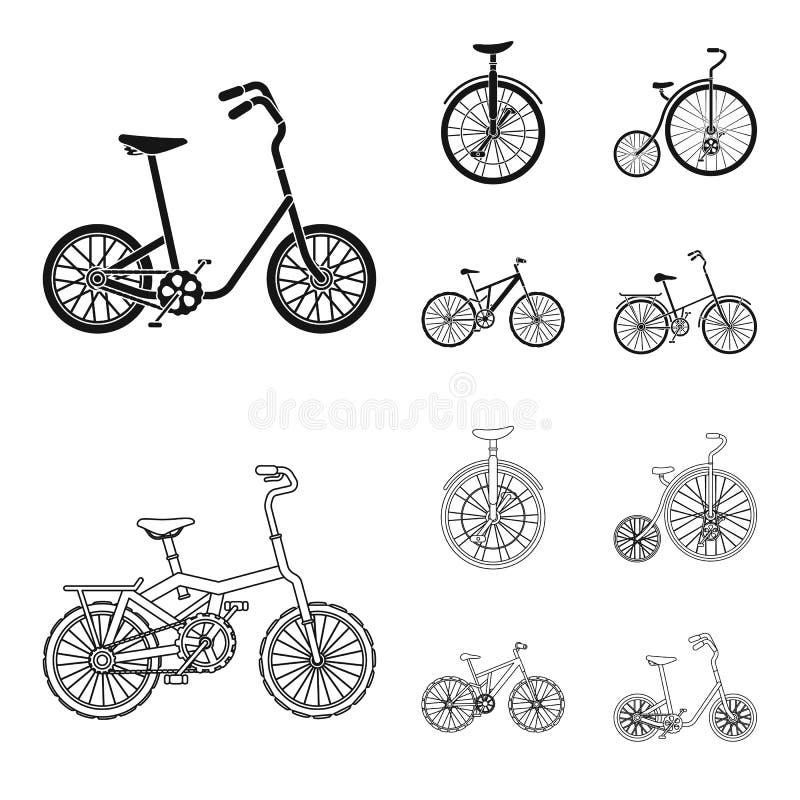 Retro-, Unicycle und andere Arten Verschiedene Fahrräder stellten Sammlungsikonen im Schwarzen, Entwurfsartvektor-Symbolvorrat ei stock abbildung