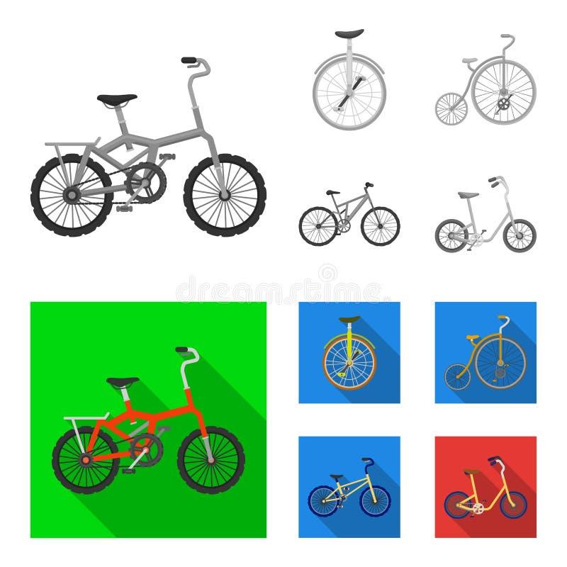 Retro, unicycle y otras clases Diversas bicicletas fijaron iconos de la colección en la acción monocromática, plana del símbolo d libre illustration