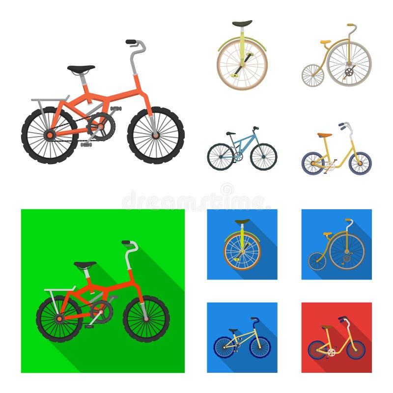 Retro, unicycle y otras clases Diversas bicicletas fijaron iconos de la colección en la historieta, acción plana del símbolo del  stock de ilustración
