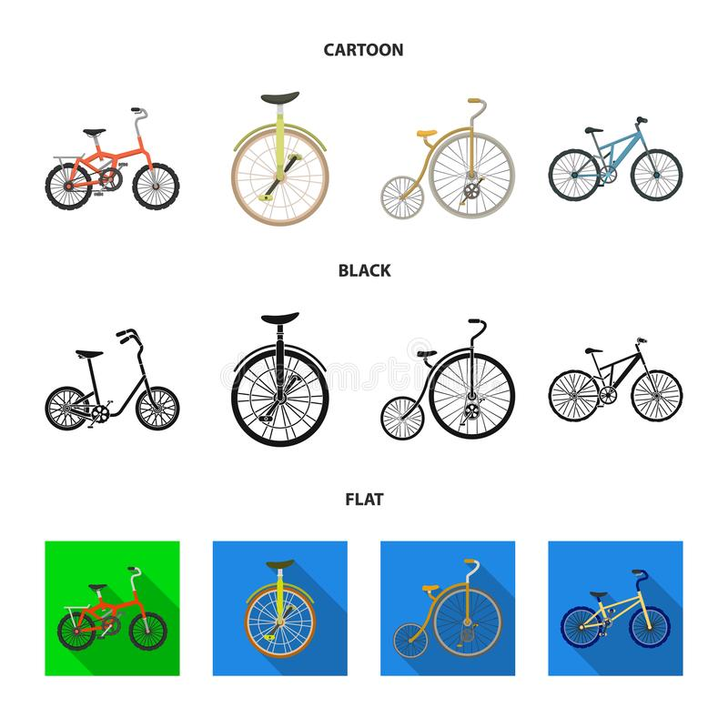 Retro, unicycle y otras clases Diversas bicicletas fijaron iconos de la colección en la historieta, negro, acción plana del símbo ilustración del vector