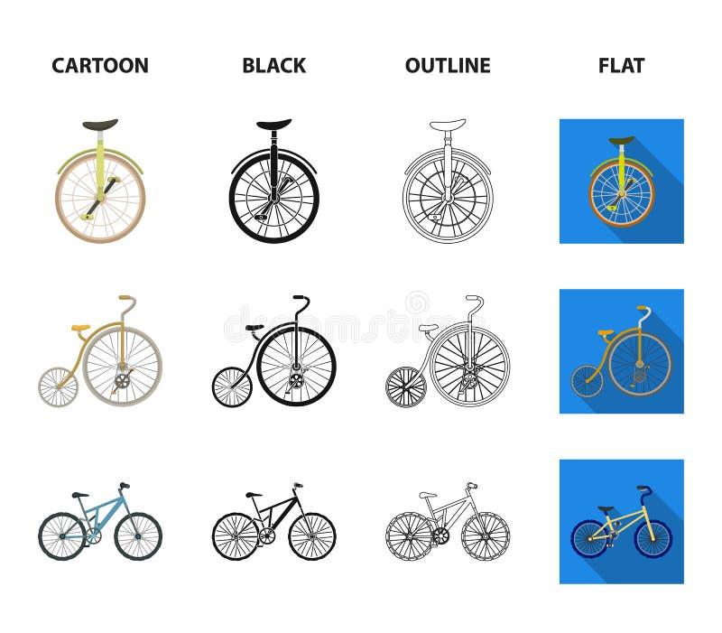 Retro, unicycle y otras clases Diversas bicicletas fijaron iconos de la colección en la historieta, negro, esquema, vector plano  libre illustration
