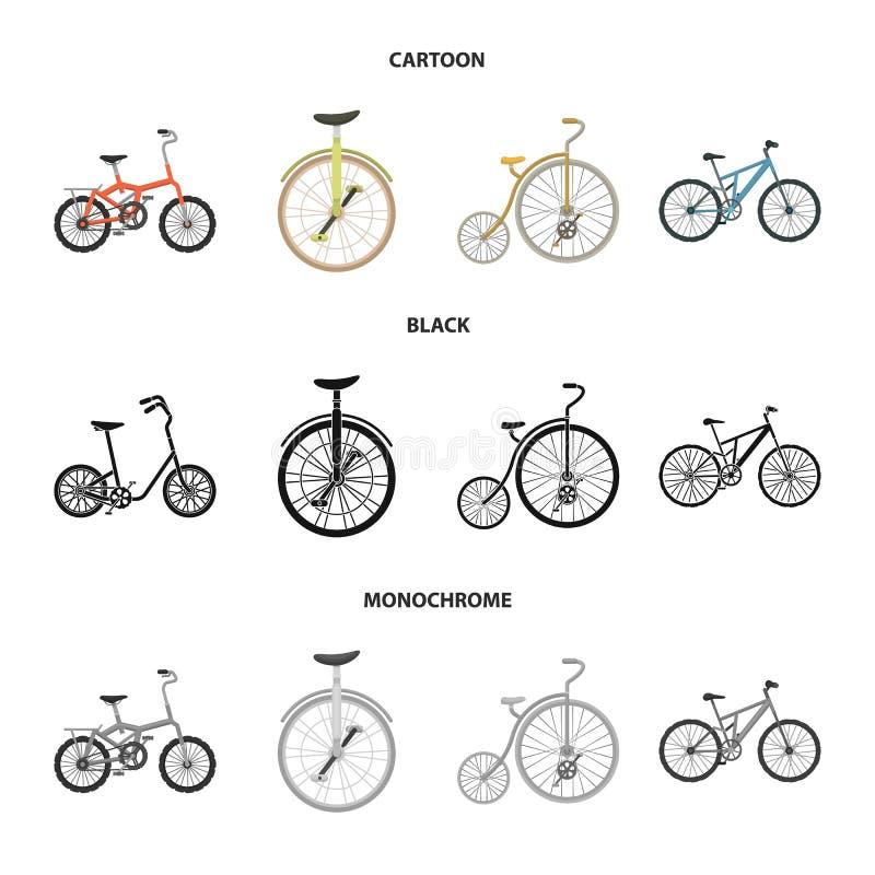 Retro, unicycle y otras clases Diversas bicicletas fijaron iconos de la colección en la historieta, negro, símbolo monocromático  ilustración del vector