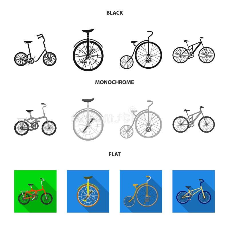 Retro, unicycle y otras clases Diversas bicicletas fijaron iconos de la colección en símbolo negro, plano, monocromático del vect ilustración del vector