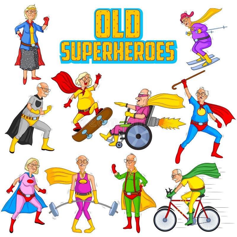 Retro uomo anziano e donna del supereroe dei fumetti di stile illustrazione di stock