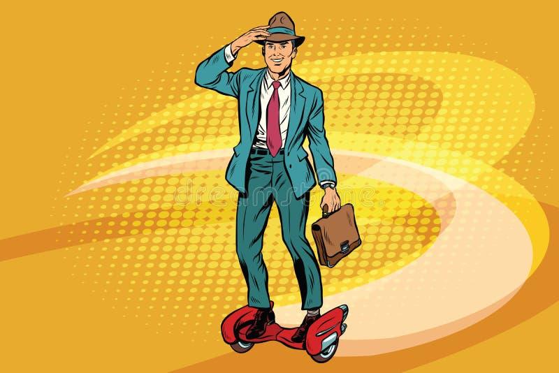 Retro uomo d'affari sul pattino del razzo dello steampunk royalty illustrazione gratis