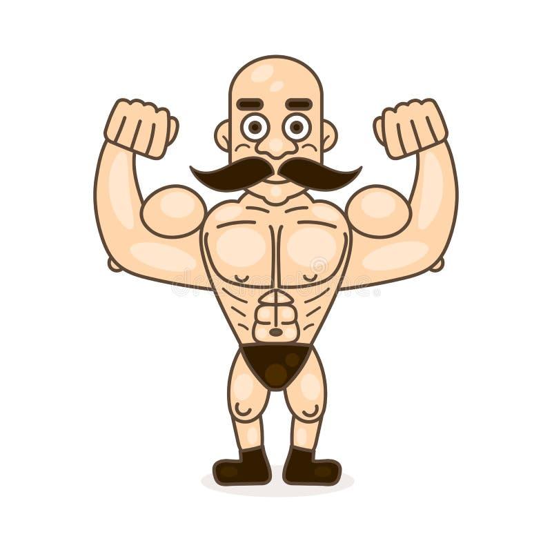 Retro uomo forte del circo di stile con il carattere dei baffi illustrazione vettoriale