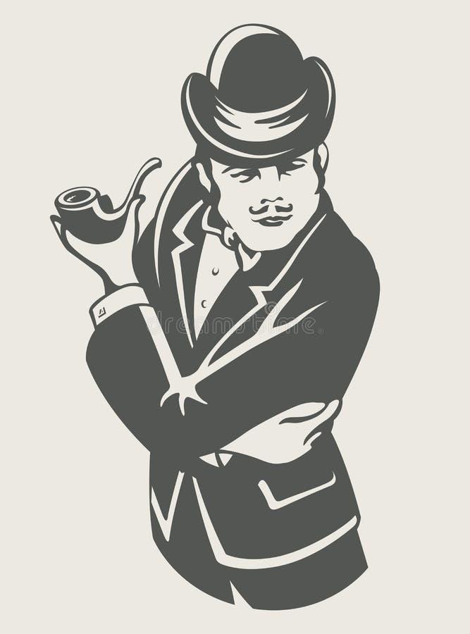 Retro uomo in vestito con il tubo illustrazione vettoriale