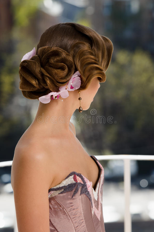 Retro updo woman royalty free stock photography