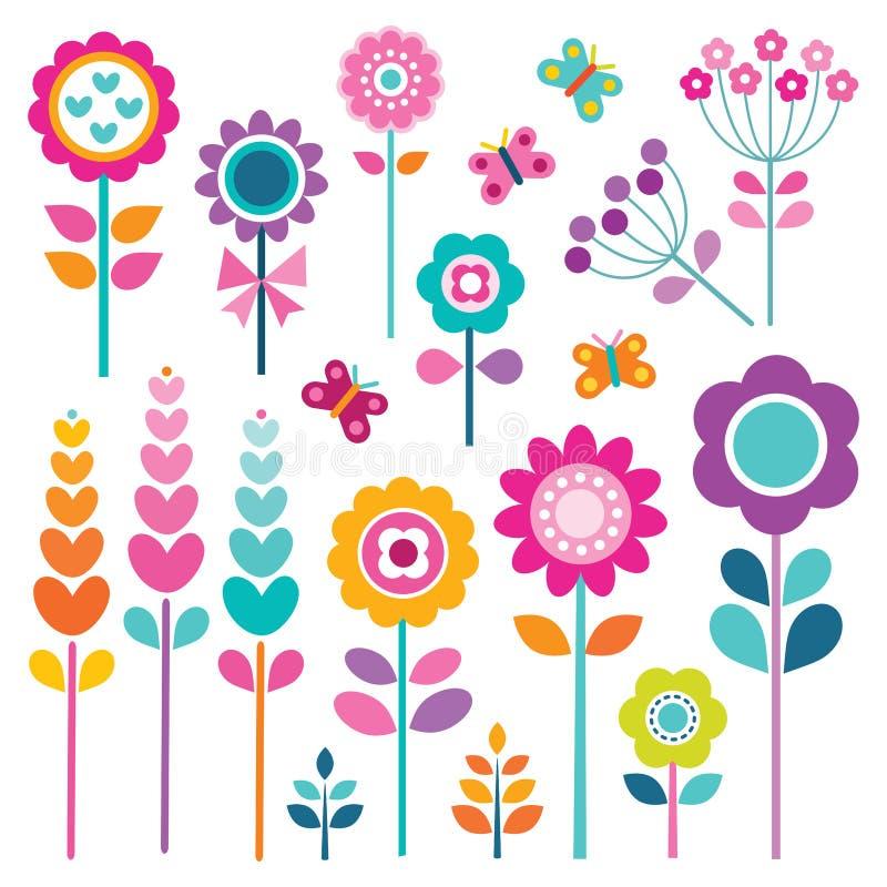 Retro uppsättning av blommor i vårfärger royaltyfri illustrationer