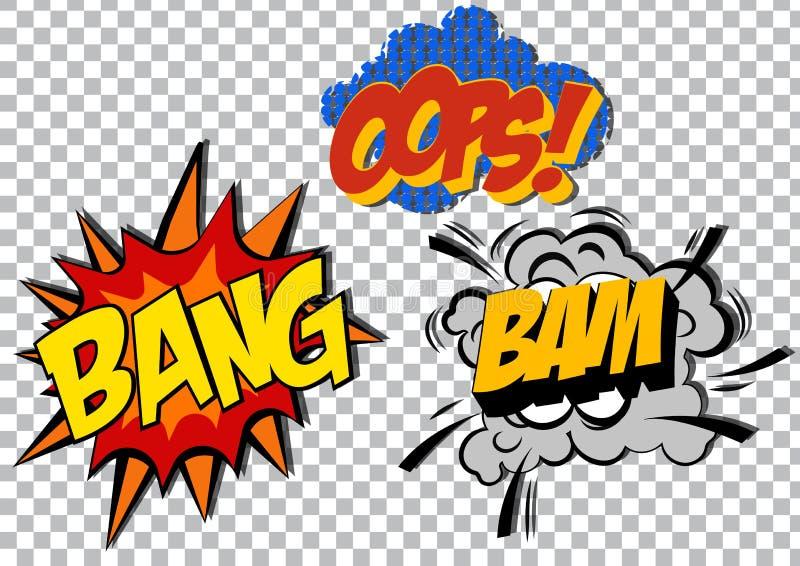 Retro uppsättning för komiker för konst för tecknad filmexplosionpop vektor royaltyfri illustrationer