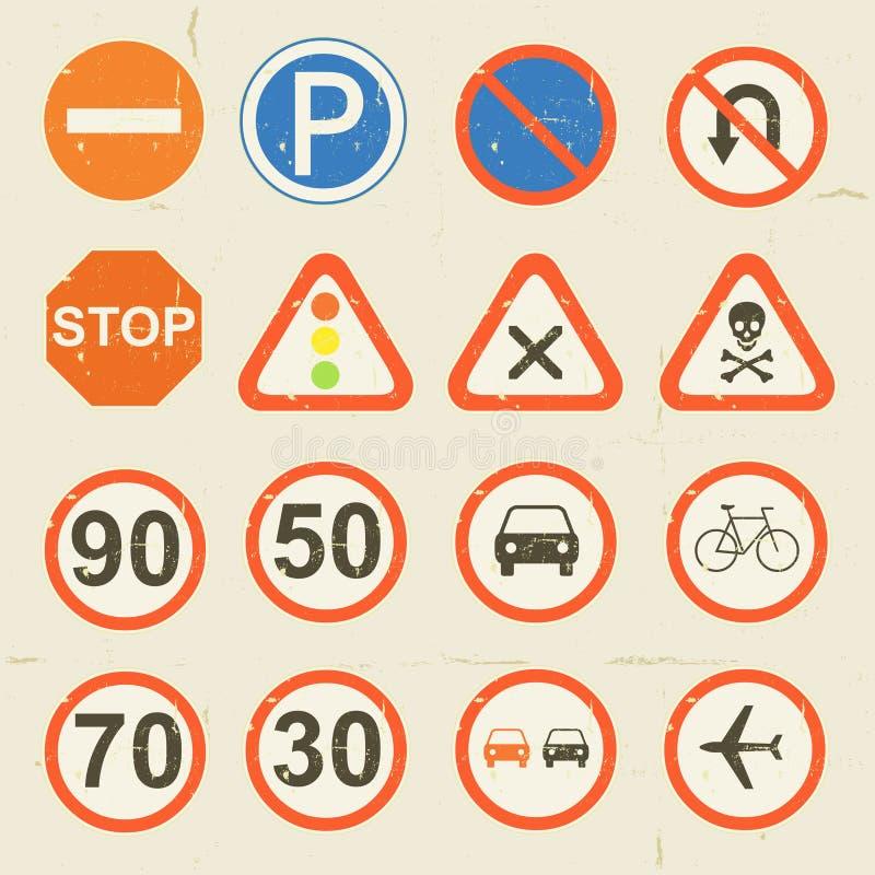Retro uppsättning för vägmärkeGrunge stock illustrationer