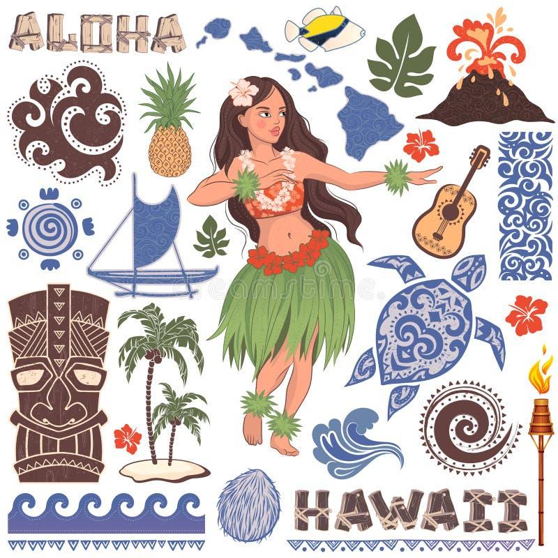 Retro uppsättning för vektor av hawaianska symboler och symboler stock illustrationer