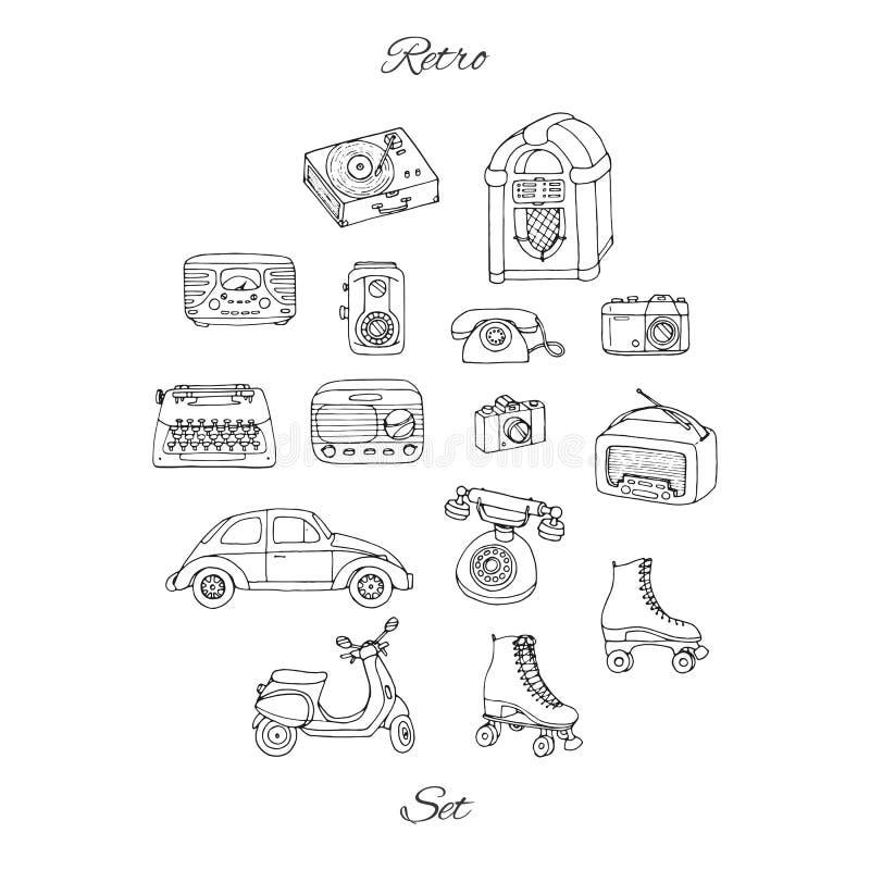 Retro uppsättning för vektor med antik tech, bil, sparkcykel, juke-box, radio stock illustrationer