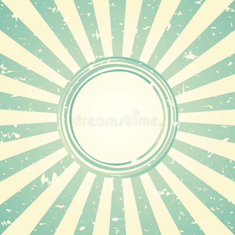 Retro urblekt bred bakgrund för solljus med den sjaskiga runda ramen för text bakgrund för bristning för blå och grön färg royaltyfri illustrationer