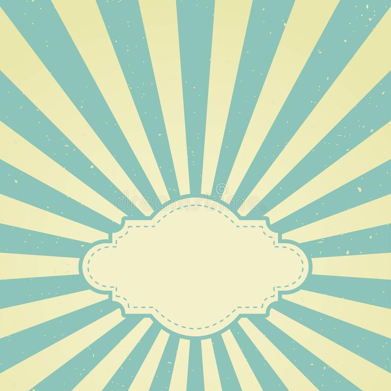 Retro urblekt grungebakgrund för solljus med tappningramen för text blå och beige bakgrund för färgbristning royaltyfri illustrationer